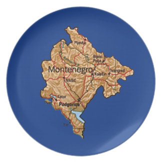 Montenegro Map Plate