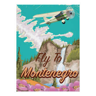 Montenegro vintage flight travel poster