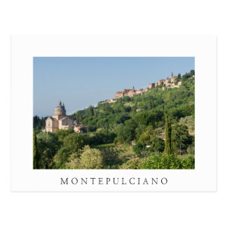 Montepulciano cathedral and town white postcard