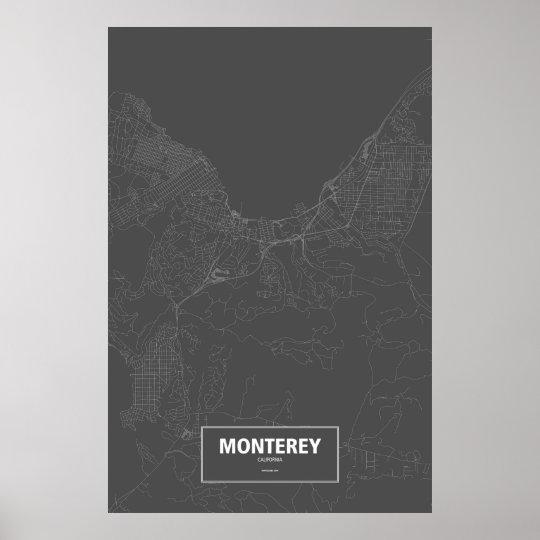 Monterey, California (white on black) Poster
