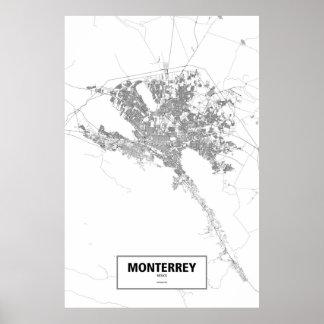 Monterrey, Mexico (black on white) Poster