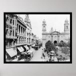 Montevideo, Uruguay Street Scene 1906 Print