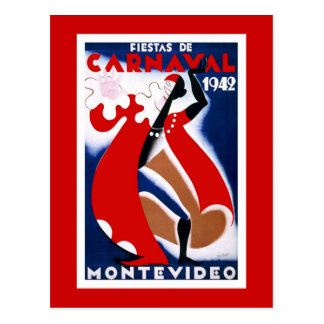 """Montevideo"" Vintage Travel Poster Postcard"