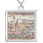 Montezuma II  leaving rapidly after hearing Square Pendant Necklace