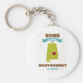 Montgomery, Alabama Map – Home Is Where The Heart Basic Round Button Key Ring