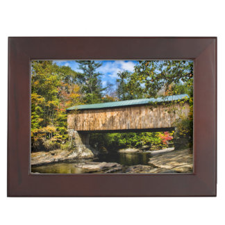Montgomery Covered Bridge with fall foliage Keepsake Box