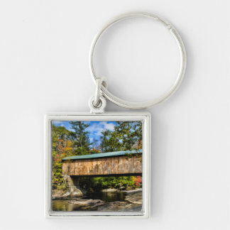 Montgomery Covered Bridge with fall foliage Key Ring