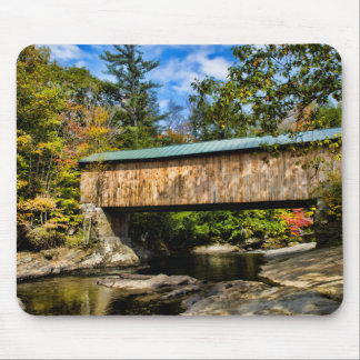 Montgomery Covered Bridge with fall foliage Mouse Mat