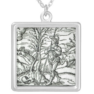 Month of January from a Shepherds calendar Silver Plated Necklace