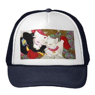 Month Oka 芳 year, favorite cat Mesh Hat