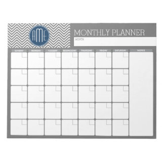 Monthly Planner Gray & Navy Chevrons with Monogram Memo Note Pads