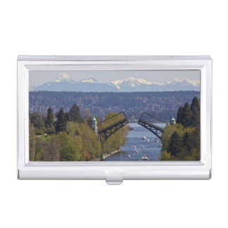 Montlake Bridge and Cascade Mountains Business Card Holder