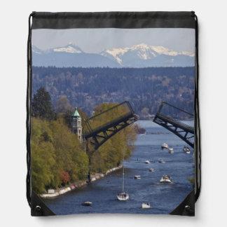 Montlake Bridge and Cascade Mountains Drawstring Bag