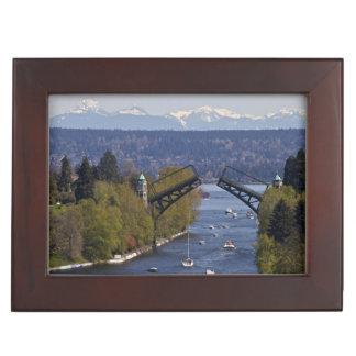 Montlake Bridge and Cascade Mountains Keepsake Box