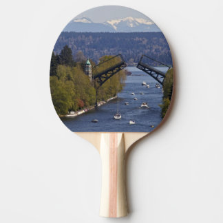 Montlake Bridge and Cascade Mountains Ping Pong Paddle