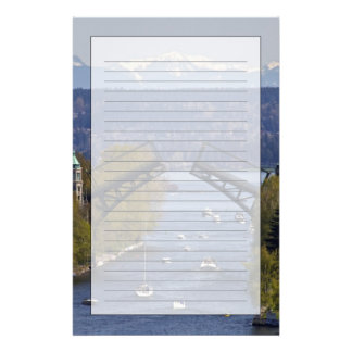 Montlake Bridge and Cascade Mountains Stationery Paper