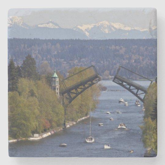 Montlake Bridge and Cascade Mountains Stone Coaster