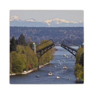 Montlake Bridge and Cascade Mountains Wood Coaster