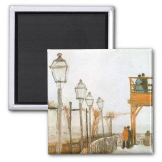 Montmartre by Vincent van Gogh, Vintage Fine Art Square Magnet