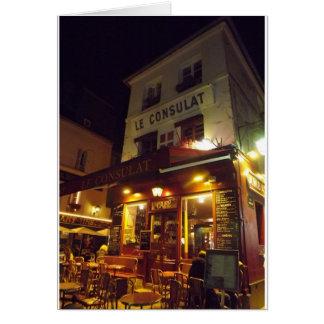 Montmartre Cafe, Paris at night Greeting Card