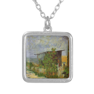 Montmartre Path with Sunflowers by Van Gogh. Silver Plated Necklace