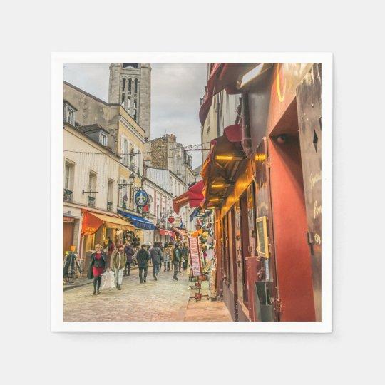 Montmartre street in Paris Paper Napkin