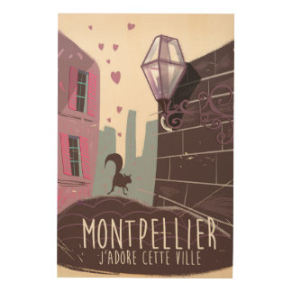 Montpellier France city travel poster Wood Canvas