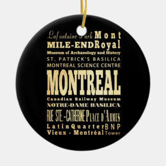 Montreal City of Canada Typography Art Christmas Ornament