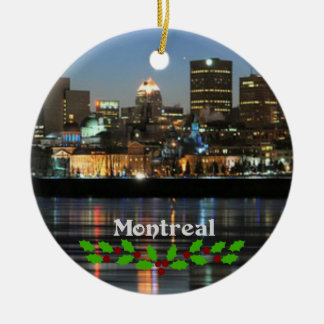 Montreal Skyline with green and red holly Round Ceramic Decoration