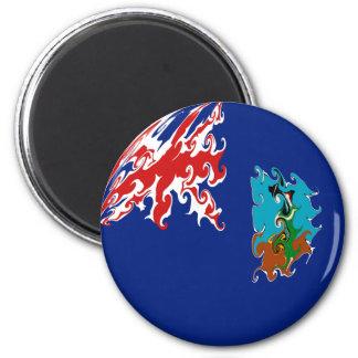 Montserrat Gnarly Flag 6 Cm Round Magnet