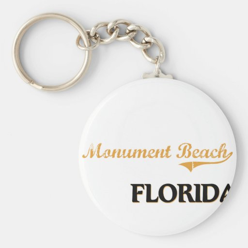 Monument Beach Florida Classic Basic Round Button Key Ring