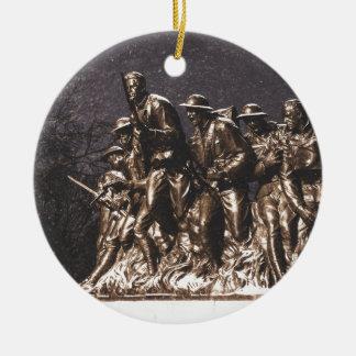monument soldiers new york war round ceramic decoration