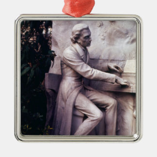 Monument to Frederic Chopin Silver-Colored Square Decoration