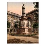 Monument to Leonardo di Vinci, Milan, Italy vintag