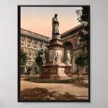 Monument to Leonardo di Vinci, Milan, Italy vintag Print