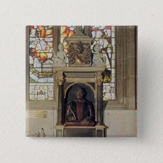 Monument to William Shakespeare  c.1616-23 15 Cm Square Badge