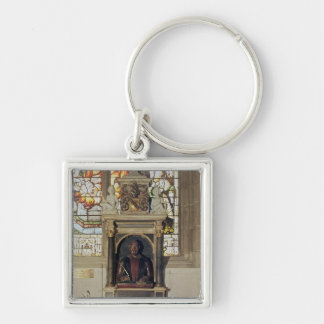 Monument to William Shakespeare  c.1616-23 Silver-Colored Square Key Ring