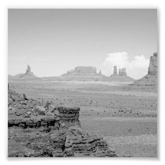Monument Valley (black and white) 2 Photo Print