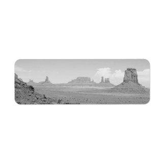 Monument Valley (black and white) 2 Return Address Label