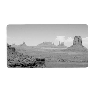 Monument Valley (black and white) 2 Shipping Label