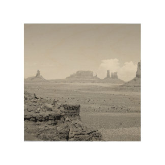 Monument Valley (black and white) 2 Wood Print