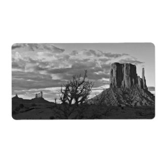 Monument Valley (black and white) 3 Shipping Label