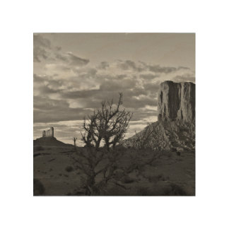 Monument Valley (black and white) 3 Wood Print
