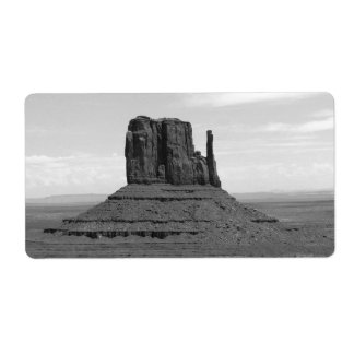 Monument Valley (black and white) Shipping Label