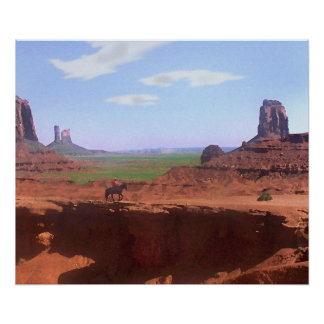 Monument Valley Cowboy Painting Poster