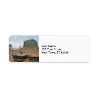 Monument Valley Cowboy Return Address Label