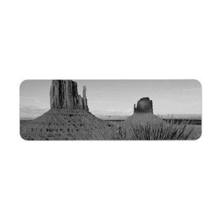 Monument Valley in Arizona/Utah (black and white) Return Address Label