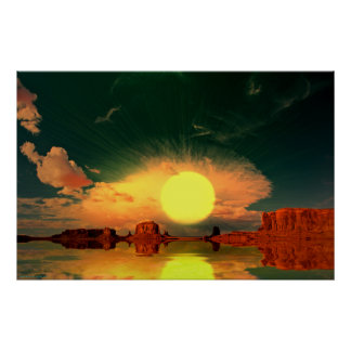 Monument-Valley-Sunrise-Sunburst-2 Poster