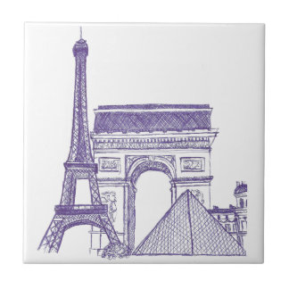 Monuments of Paris Tile