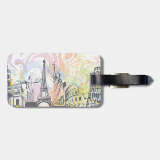 Monuments of the world custom luggage tag
